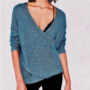 Sweaters - Urban Outfitters Blue Motif Faux Wrap Sweater
